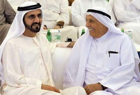 Shaikh Mohammed sharing a light moment with prominent businessman and philanthropist Juma Al Majid. — Wam
