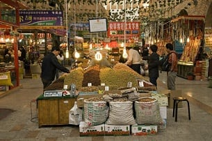 A bazaar in the Xinjiang capital Urumqi