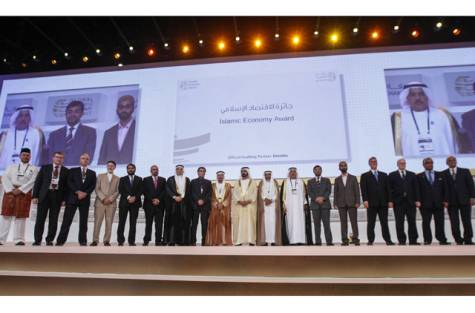 Image Credit: Ahmed Ramzan/Gulf News Shaikh Mohammad Bin Rashid Al Maktoum, Ruler of Dubai, Prime Minister and Vice President of UAE, along with the Islamic Economy Award winner, poses for the picture, during the Global Islamic Economy Summit at Madinat Arena, Madinat Jumeirah, Dubai.