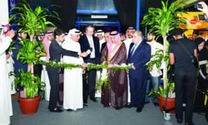 Khalid bin Mohammed Al-Fuhaid, deputy minister of agriculture, cuts the ribbon at the inaugural ceremony of FoodEx Saudi 2013.