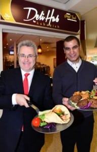 Birmingham Airport CEO Paul Kehoe (left) and Deli Hub Managing Director Sydd Sadiq salute the new opening