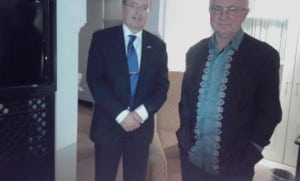 NZ Trade Minister Tim Groser with Ambassador Hamish MacMaster.