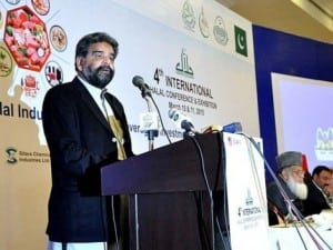 Federal Minister for National Food Security Sikandar Hayata Bosan addressing the 4th International Halal Conference here on Tuesday. PHOTO: APP