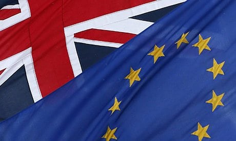 The EU and the Union flags fly outside The European Commission Representation in London