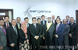 Permanent Secretary (Downstream & Power) at the Prime Minister's Office Dato Paduka Hj Jamain Hj Julaihi (Front 4th L), UBD Assistant Vice Chancellor (Research & Innovation) Professor David Koh (Back 3rd L), Sengenics Executive Director Dr Arif Anwar (Back 4th L) along with BEDB, UBD and Sengenics management in a group photo at the new facility yesterday. BT/ Julius Hong