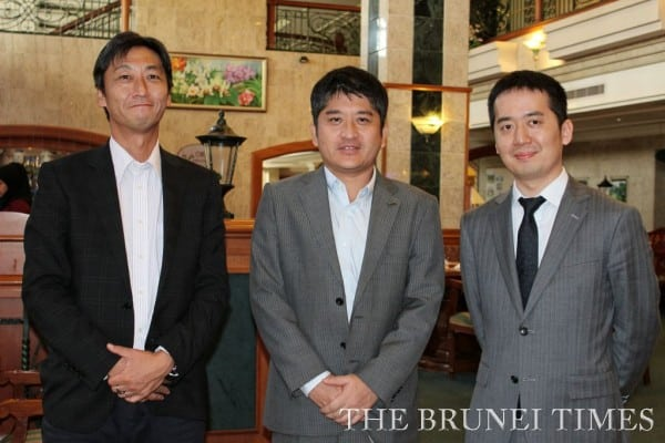 rs of Economic Research Institute for ASEAN and East Asia (L-R) Personal Advisor to the Executive Director for Brunei Affairs Okouchi Hiroshi, Senior Policy Advisor Nobuyuki Mori and Halal expert Tetsuya Enomoto. Picture: BT/Zafirah Zaili